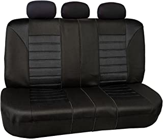 FH Group FB068013 Premium 3D Air Mesh Split Bench Seat Cover Solid Black Color- Universal Car, Truck, SUV, or Van