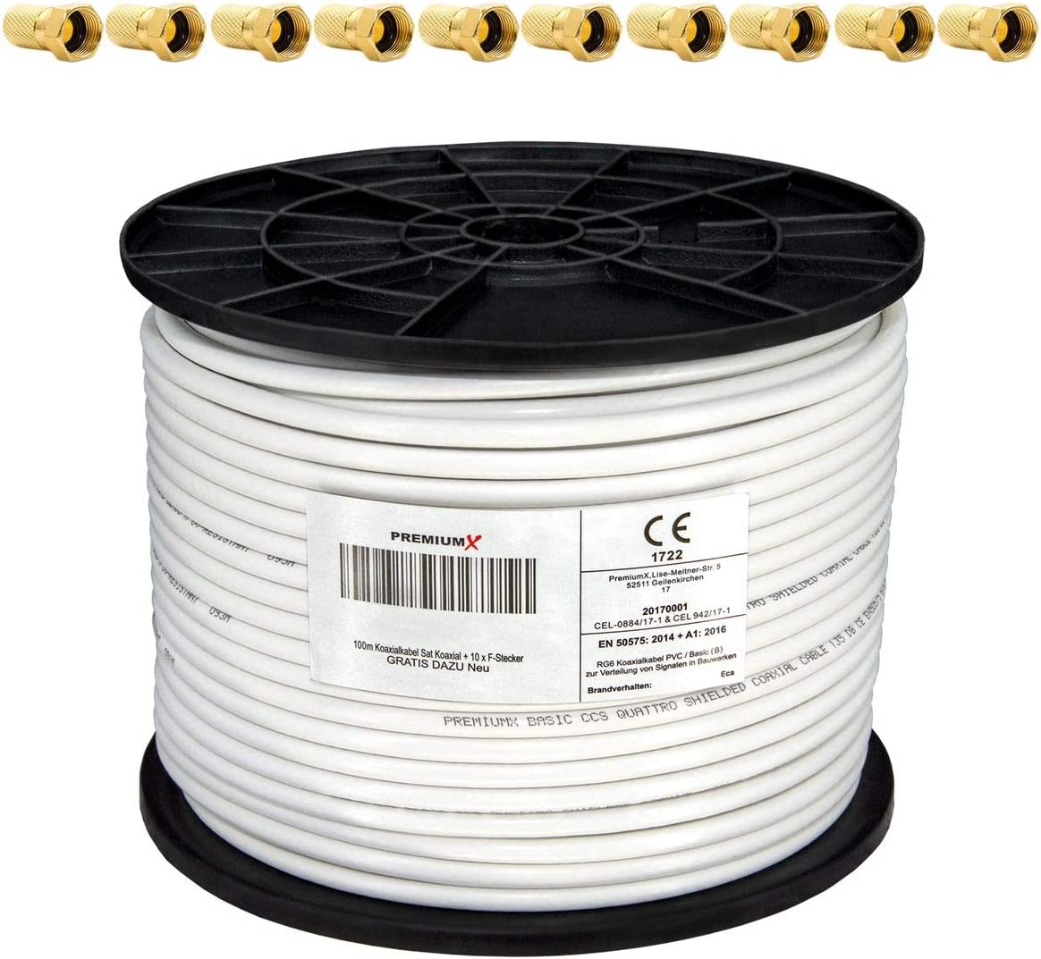 PremiumX 100m 135dB cable coaxial satelital cobre puro digital profesional Full HD Ultra HD 4K 4 veces protegido para sistemas DVB-S / S2 DVB-C DVB-T ...
