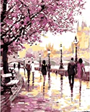 Frameless Cherry Blossoms Road Diy Oil Painting by Numbers Kits Wall Art Picture Home Decor Acrylic Paint on Canvas for Ar...