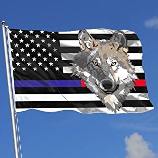 JQDAPaflag Wolf Face Clipart Breeze Flag 3 X 5-100% Polyester Single Layer Translucent Flags 90 X 150CM - Banner 3' X 5' Ft