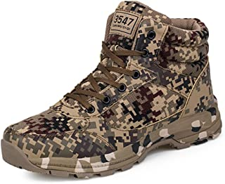 Mens Womens Camouflage Tactical Hiking Boots High Top Comfortable Waterproof Cotton Shoes 36-46