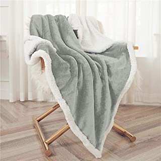 "Bonzy Home Sherpa Throw Blanket, Flannel Fleece Blanket Cozy Warm Sherpa Super Soft Fuzzy Fleece Blanket Fluffy Luxury Blanket-Lightweight and Washable 50""x 60""(Light Gray)"
