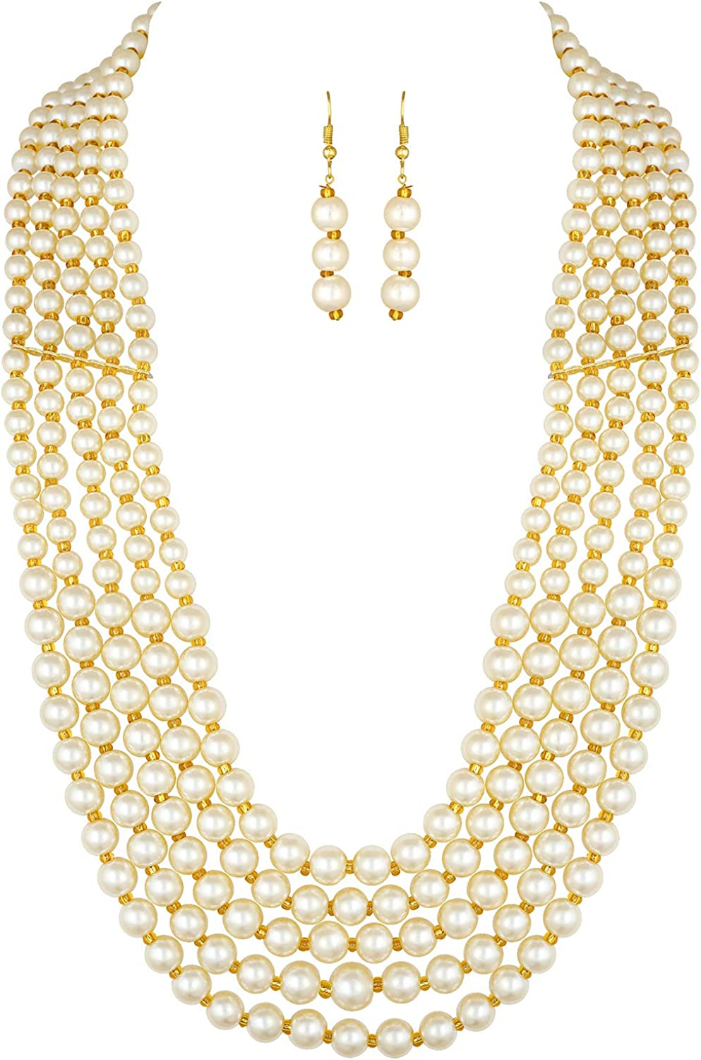 Aheli Ethnic Multi-Strand Pearl Long supreme with Earrings Max 77% OFF Drop Necklace