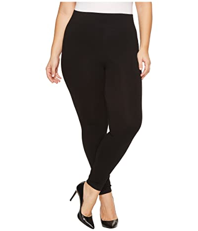 HUE Plus Size Ultra Leggings with Wide Waistband (Black) Women