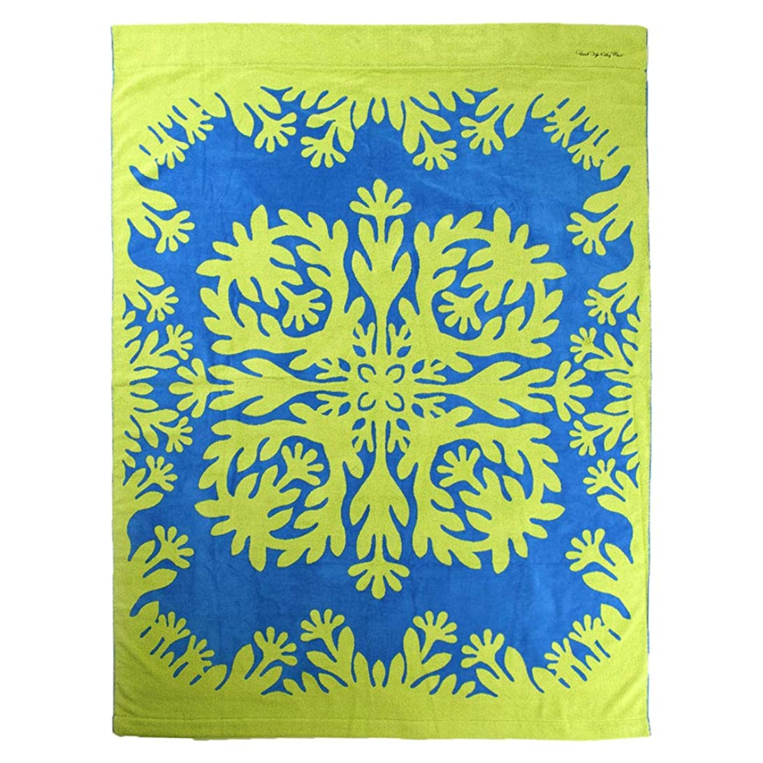 ストローク私たち自身星[アイランドスタイル キャシーマム] ハワイアンキルト柄 タオルケット ナウパカ ブルー