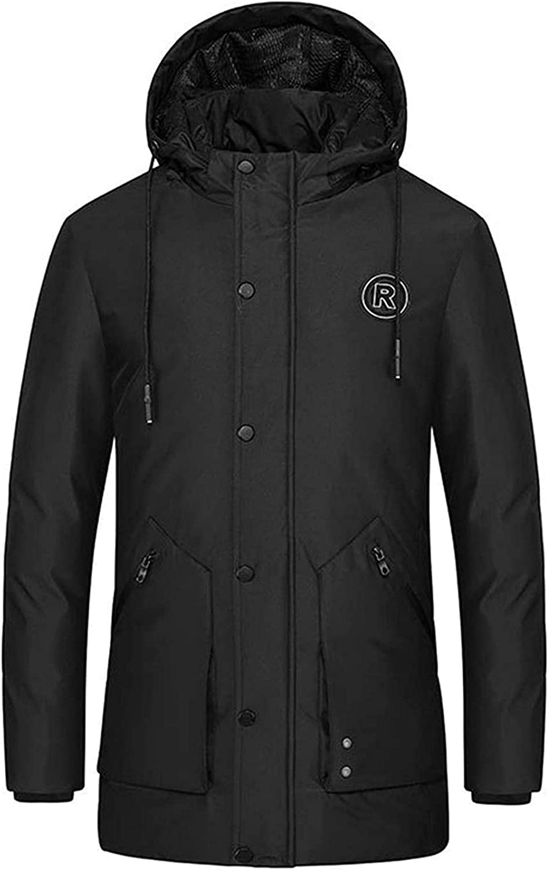 QNMGB Men's Winter Chest Patch Hooded Ski Parka Coat Down Alternative Jacket