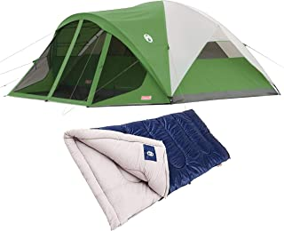 Coleman Evanston 8-Person Camping Tent with Screen Room Bundle with Coleman Brazos 30-Degree Sleeping Bag for Hiking, Backpacking and Outdoor Activity
