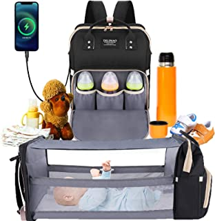 Diaper Bag Backpack - with Changing Station HKZ 5 in 1 Baby Diaper Bags for Girl and Boy,Travel Foldable Baby Bed Multifunction Large Capacity Baby Bassinet with USB Charging Port, Waterproof (Black)