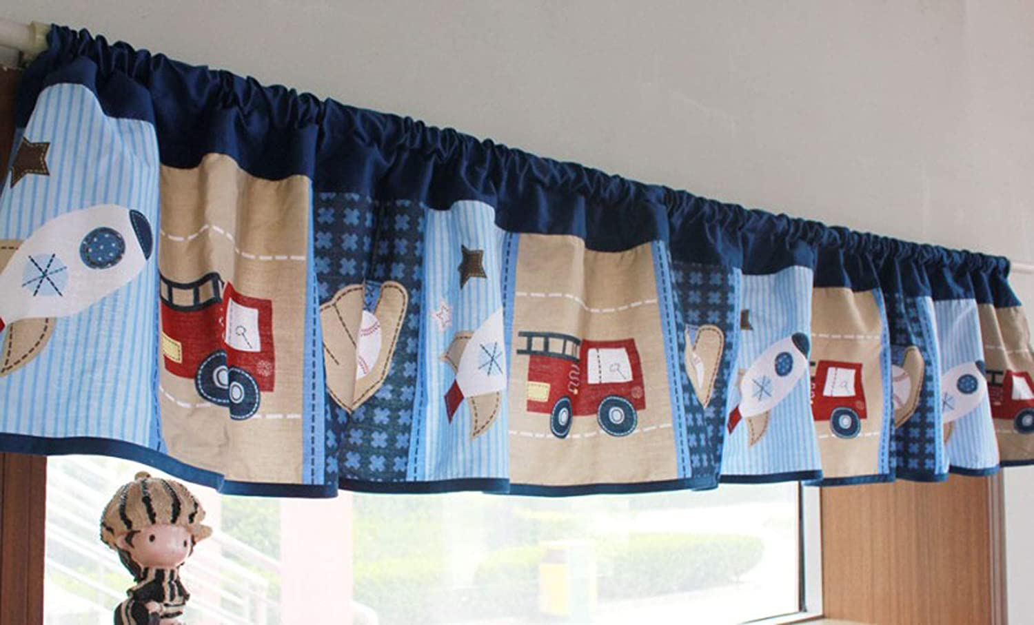 Amazon.com: CribMATE Nursery Room Window Valance Pink Floral Window Valance/Navy Blue Rocket Fire Engine Window Valance Baby Boy/Girl Gift Idea (Blue): Furniture & Decor