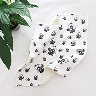 "Boxer Dog Print Baby Lovey, Organic Cotton Comfort Blanket, Size 18""x18"""