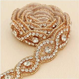 Rose Gold Rhinestone Applique 1 Yard Bridal Applique Beaded Embellishments for Women Formal Dresses Sewn or Hot Fix