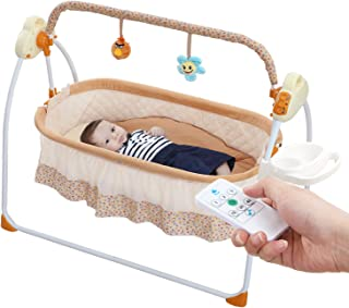 WBPINE Baby Cradle Swing, Automatic Baby Bassinets Swing Crib for Baby Boy and Girls with Music (Brown)