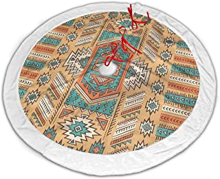 WEIHGWD Ethnic Aztec Secret Tribe Pattern in Native American Bohemian Style 30 Inch,36 Inch,48 Inch,Polyester Christmas Tree Skirt with White Plush Border for Holiday New Year Christmas Decorations