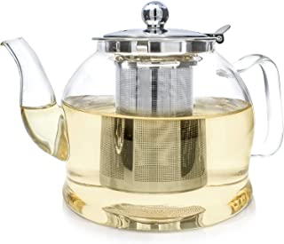 Teabloom Dublin Glass Teapot – Fine Borosilicate Glass – Large Capacity – 40 oz. / 1200 ml (4-5 Cups) – Stovetop and Microwave Safe – Removable Stainless Infuser – Ideal for Loose Leaf Tea