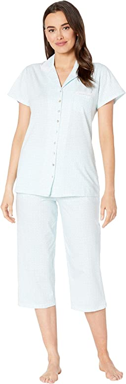 Cotton Jersey Notch Collar Pajama Set