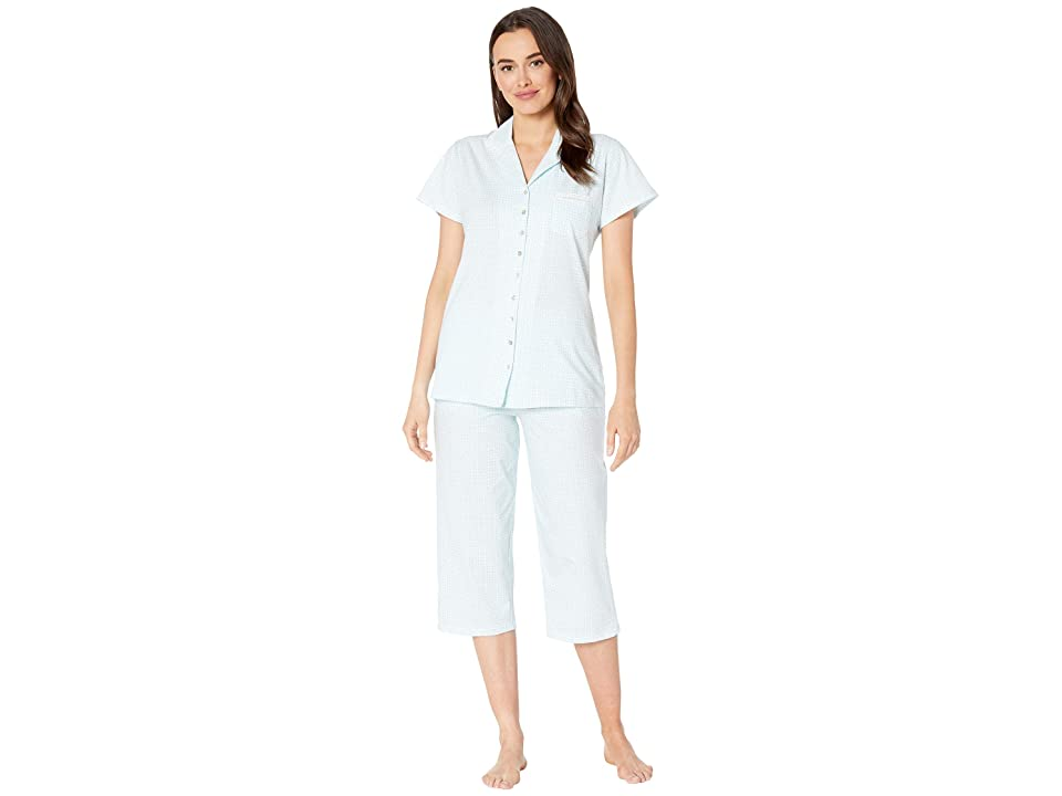 Eileen West Cotton Jersey Notch Collar Pajama Set (White Ground Aqua Geo) Women