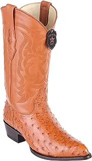 Men's J-Toe Genuine Leather Ostrich Skin Western Boots