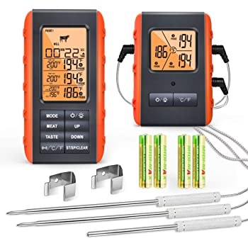 Wireless Digital Meat Thermometer for Grilling Smoking - Kitchen Cooking Candy Thermometer with 3 Probes - Monitor Ambient Temperature Inside The Grill Smoker BBQ Oven Food Thermometer, 490ft