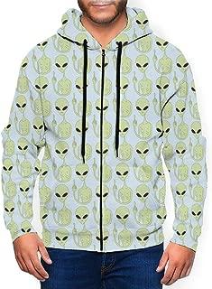 Middle Finger Alien Men's Full-Zip Hoodie Casual Sweatshirt Jackets Outwear