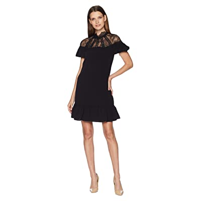 Tahari by ASL Short Sleeve Crepe/Lace Shift with High Neckline (Black) Women