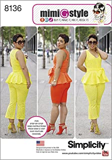 Simplicity Creative Patterns 8136 Mimi G Style Peplum Top with Cropped Pants or Shorts, H5 (6-8-10-12-14)