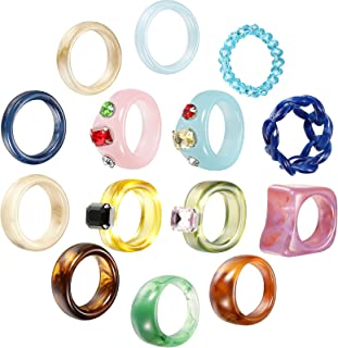 14 Pieces Retro Resin Acrylic Ring Colorful Plastic Resin Ring Square Gem Figure Ring Accessory Acrylic Diamond Ring for G...