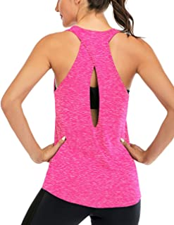 Fihapyli Women's Open Back Yoga Shirt Cross Back Workout Clothes Sleeveless Sports Gym Tank Tops