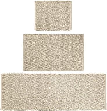 mDesign Soft 100% Cotton Luxury Rectangular Spa Mat Rugs, Water Absorbent, Diamond Design - for Bathroom Vanity, Tub/Shower, Machine Washable - Runner, Standard & Small Rug - Set of 3 - Linen/Tan