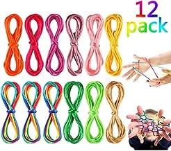 12 Piezas Cuerdas de Mecer de Gato Cuerda Arcoiris Cuerda de Juegos y Juguete de Habilidad de Dedos 175 cm para Suministros de Fiestas