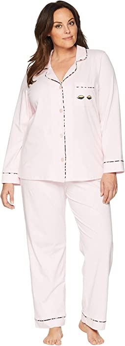 Plus Size Notch Collar Pajama Set with Eyelashes