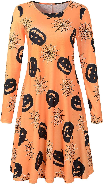 NEW FEEL Women's Long Sleeve AWord Halloween Pumpkin Dress