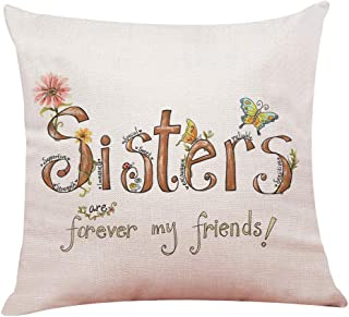 onederful Sister Gifts from Sister Brother, Sisters Birthday Gift Ideas, Throw Pillow Cover Gifts for Sister, Christmas, Graduation Present for Friend Girls Sister-Sister are Forever My Friends