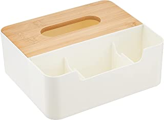 Citylife Bamboo Wood Tissue Box Organizer,White, 216x185x180mm,(H-8883)