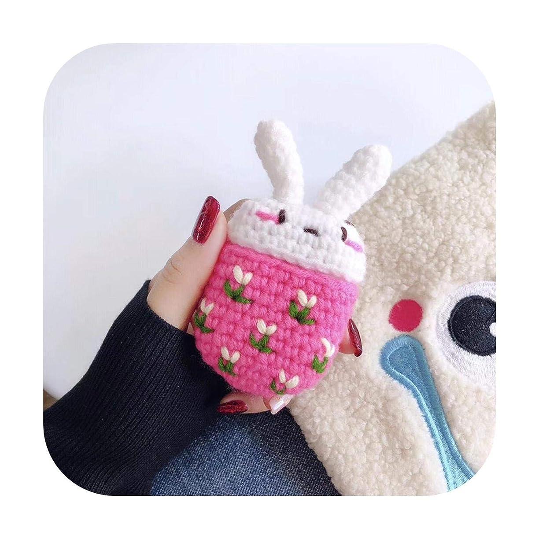 購入サンダース再編成する手作りニットairpods保護カバーぬいぐるみ漫画かわいいapple airpods2ニットイヤホンカバー用-ピンクのウサギのウール編み-AppleワイヤレスBluetoothヘッドセットエアポッドヘッドセットセット