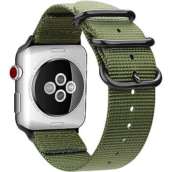 For Apple Watch バンド, Fintie 編みナイロン 時計バンド 交換ベルト アップルウォッチ交換ストラップ iWatch Apple Watch SE/Series 6 / Series 5 / Series 4 44mm, Series 3 / Series 2 / Series 1 42mm 対応 (アーミーグリーン)