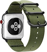 FINTIE Cinturino per Apple Watch 44mm 42mm, Nylon Tessuto Sport Regolabile Band con Fibbia Metallica Cinturini di Ricambio Accessori per Apple Watch Series 5 4 3 2 1, Olive