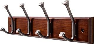 Finnhomy Wooden Coat Hooks Wall Hooks 4 Dual Hooks 16-Inch Rail/Pilltop Rack Long Coat Rack for Clothes Entryway Foyer Storage Organization Bathroom Towel Key Accessory Walnut/ORB Hook