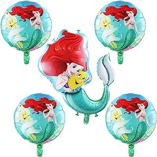 5Pcs Ariel Mermaid Princess Foil Balloons,Little Mermaid Theme Birthday Party Decorations for Girls
