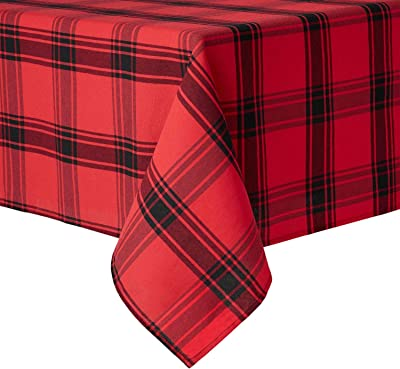 """Red /& White Plaid Tablecloth with Red Shimmer Stripes 60/""""x 84/"""" OVAL"""