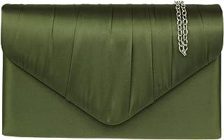 Girly HandBags Plisado bolso de embrague del satén