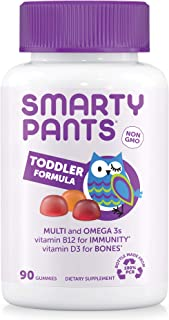 SmartyPants Toddler Formula Daily Gummy Multivitamin: Vitamin C, D3, & Zinc for Immunity, Gluten Free, Omega 3 Fish Oil (D...
