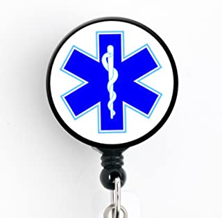 Star of Life - Retractable Badge Reel with Swivel Clip and Extra-Long 34 inch Cord - Badge Holder/EMT/EMS