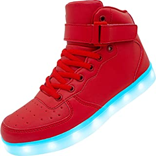 APTESOL Kids Youth LED Light Up Sneakers Boys Girls High Tops Cool Flashing Shoes for Toddler Littler Kid Big Kid