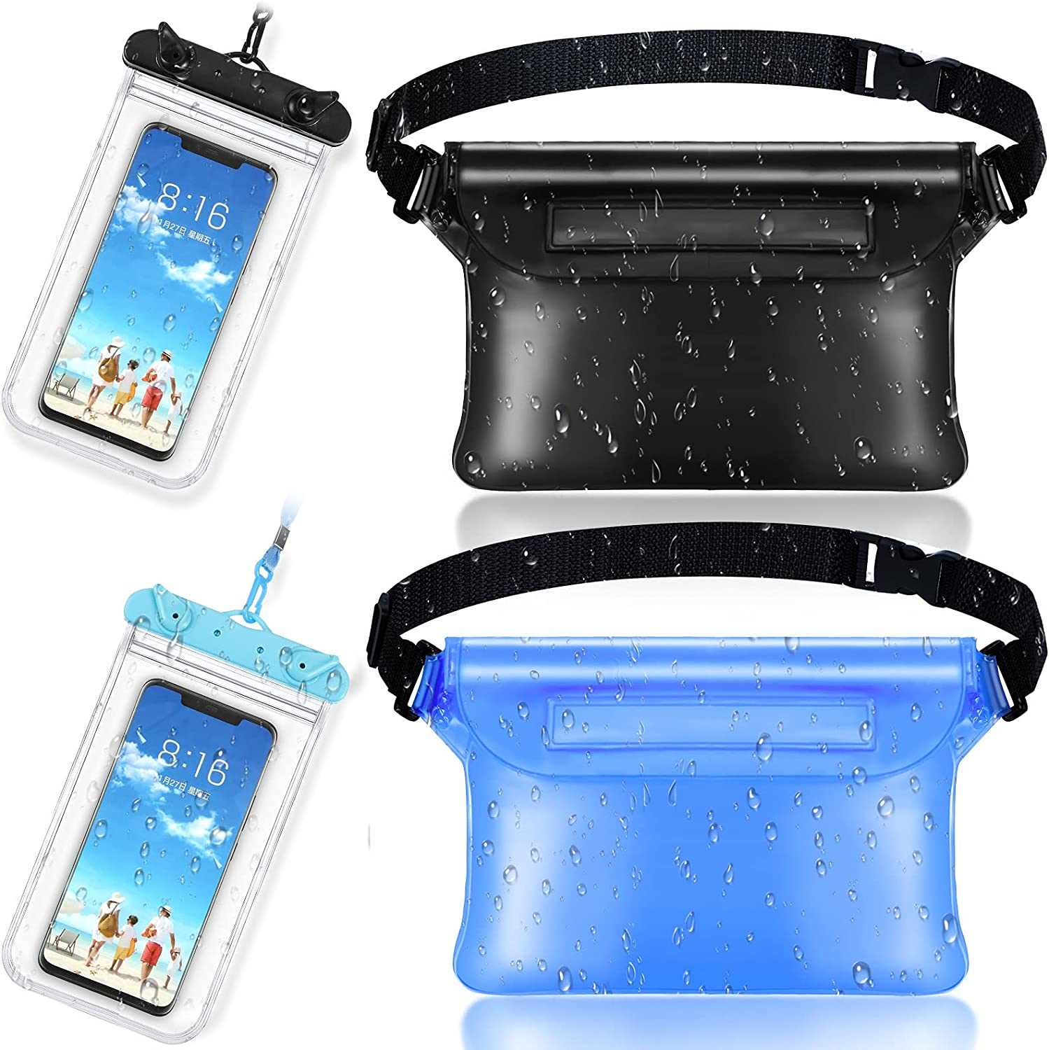 2 Pieces Waterproof Phone Pouch Universal Cellphone Case and 2 Waterproof Fanny Pack with Waist Strap Screen Touchable Dry Bag for Swimming Snorkeling Boating (Clear Black, Black, Blue)