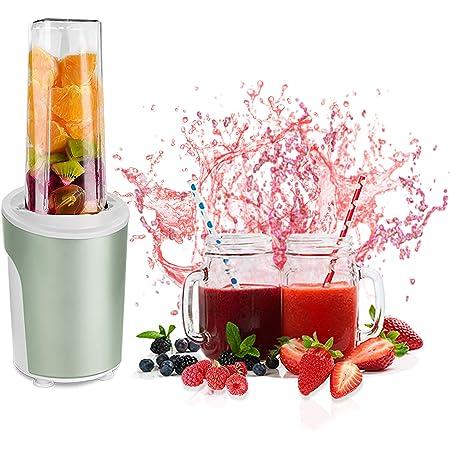 Venga! 2-en-1 Smoothie Blender et Mixeur, Avec Bouteille transportable en Tritan BPA-Free de 600ml, 2 Jars en Verre avec couvercle et paille réutilisable, 450 W, Vert Menthe, VG BL 3009