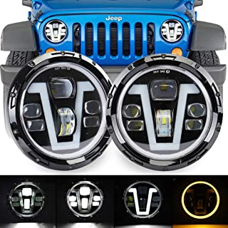 XINYOU Jeep Headlights V Type 7 Inch Round LED Halo Headlights with Hi Lo Beam White DRL Amber Turn Signal Lights for Jeep Wrangler JK TJ LJ CJ Hummer H1 H2