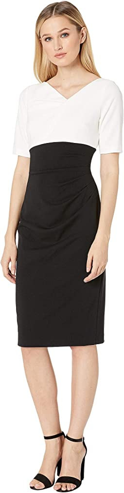 Color Block Knit Crepe Sheath Dress