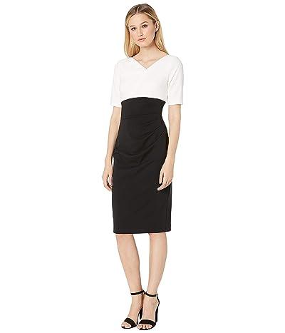 Adrianna Papell Color Block Knit Crepe Sheath Dress (Black/Ivory) Women