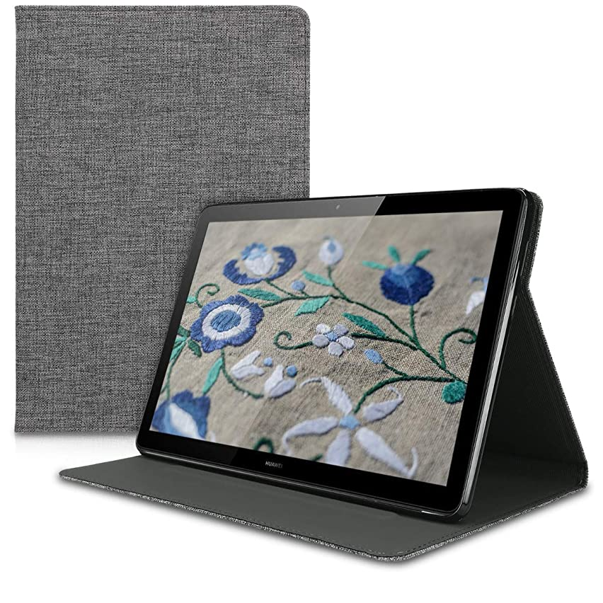 kwmobile Case for Huawei MediaPad T5 10 - Slim Book Style Protective Tablet Cover with Stand Feature - Grey