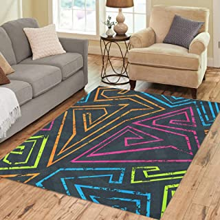 Semtomn Area Rug 5' X 7' Orange Digital Neon Colorful Pattern Abstract Black Arrow Cool Home Decor Collection Floor Rugs Carpet for Living Room Bedroom Dining Room